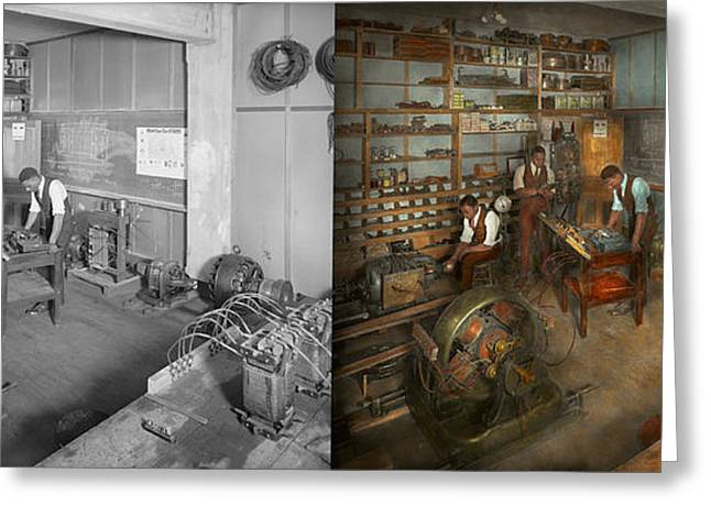 Mechanical Revolution Greeting Cards - Electrician - The Electrical Engineering course - 1915 - Side by side Greeting Card by Mike Savad