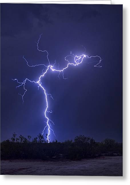 Arizona Lightning Greeting Cards - Electrify The Desert Skies  Greeting Card by Saija  Lehtonen