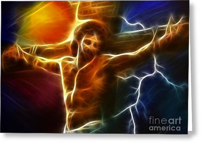 The Church Mixed Media Greeting Cards - Electrifying Jesus Crucifixion Greeting Card by Pamela Johnson
