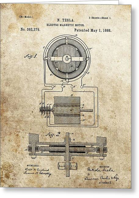 Electrical Mixed Media Greeting Cards - Electro Magnetic Motor Tesla Patent Greeting Card by Dan Sproul