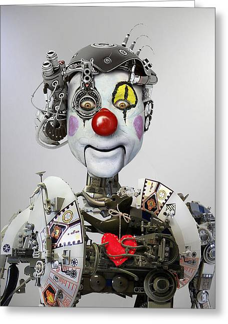 Clown Greeting Cards - Electronic Clown Greeting Card by Ddiarte