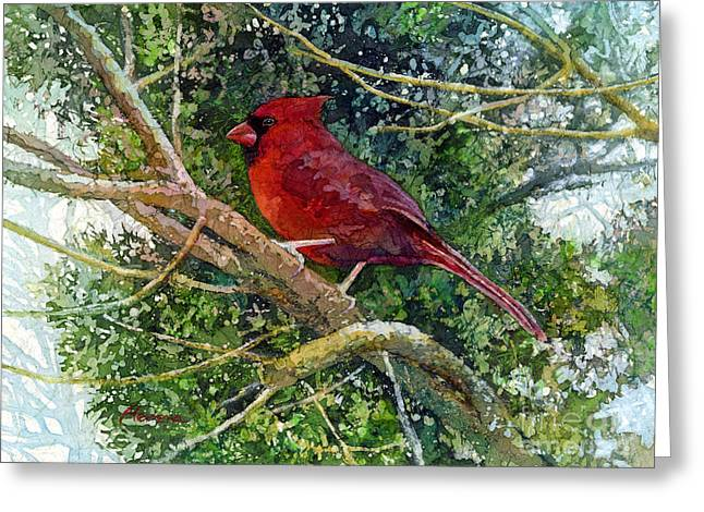 Bird On Tree Paintings Greeting Cards - Elegance in Red Greeting Card by Hailey E Herrera
