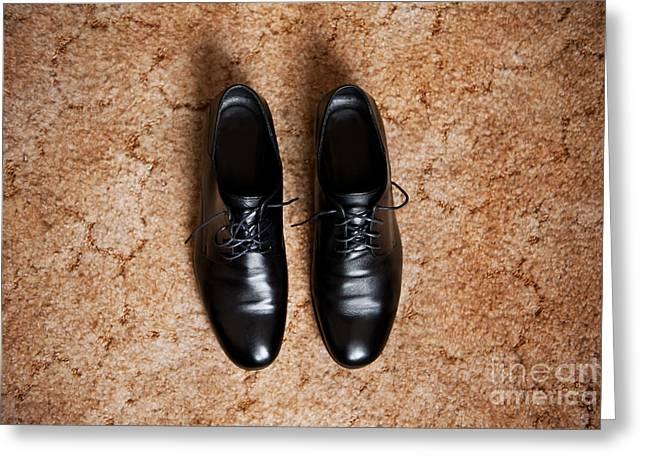 Footgear Greeting Cards - Elegance Wedding Groom Boots Greeting Card by Arletta Cwalina
