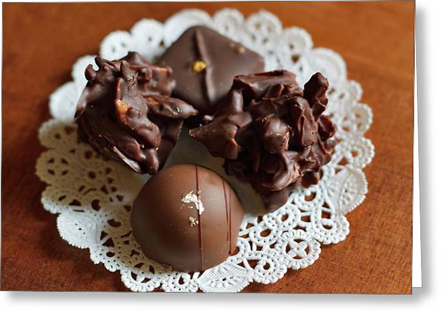 Elegant Chocolate Truffles Greeting Card by Louise Heusinkveld