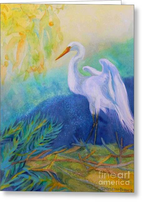 Sea Birds Greeting Cards - Elegant Egret Greeting Card by Sharon Nelson-Bianco