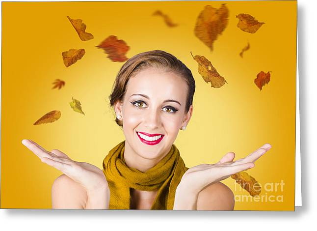 Youthful Greeting Cards - Elegant female model catching autumn leaves Greeting Card by Ryan Jorgensen
