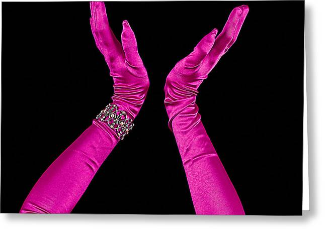Apparel Mixed Media Greeting Cards - Elegant Fuchsia Arms/Hands Clapping Greeting Card by Trudy Wilkerson