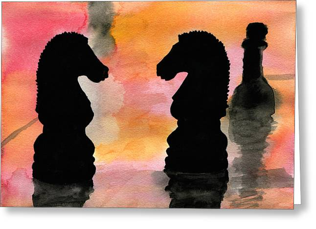 Strategy Paintings Greeting Cards - Elegant Game Greeting Card by R Kyllo