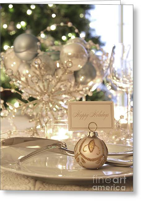 Candles Greeting Cards - Elegant holiday dinner table with focus on place card Greeting Card by Sandra Cunningham