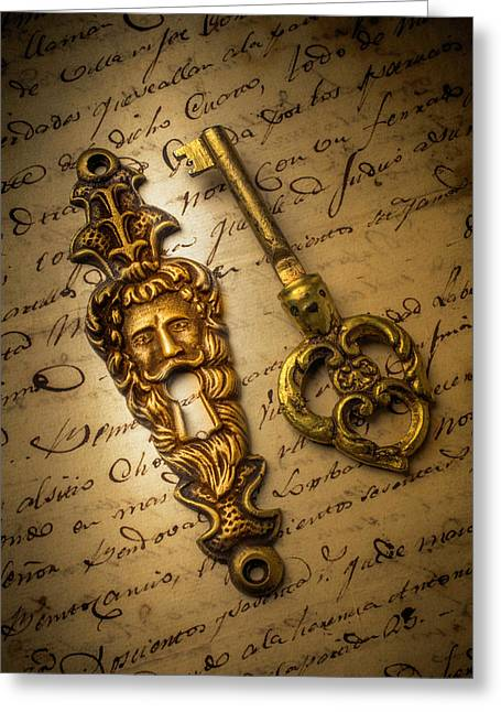 Elegant Keyhole On Old Letter Greeting Card by Garry Gay
