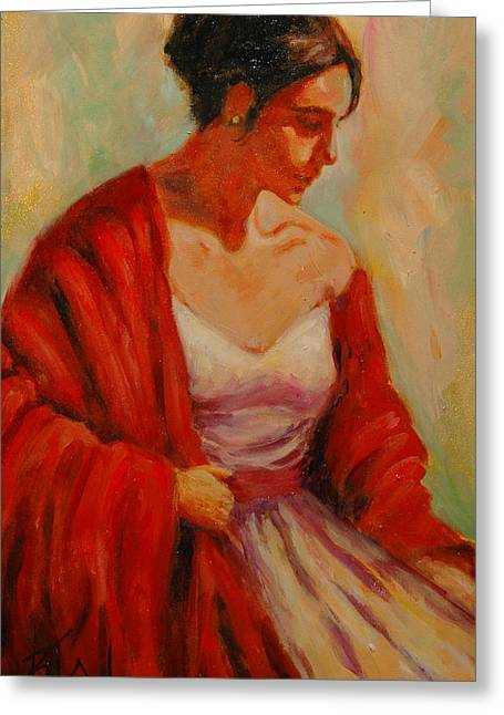Elegant Lady Greeting Card by Billie Colson