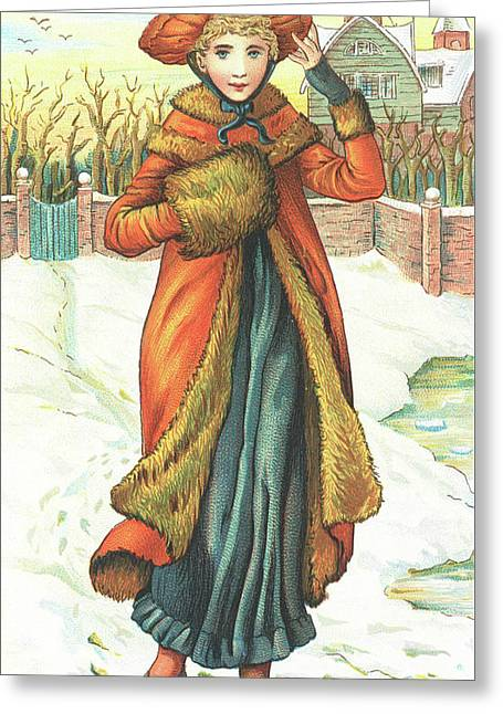 Elegant Lady In Snow, Christmas Card Greeting Card by English School