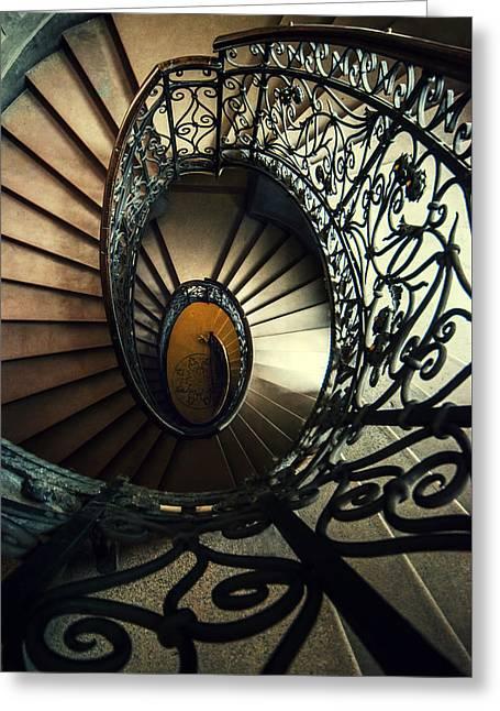 Black Top Greeting Cards - Elegant metal spiral staircase Greeting Card by Jaroslaw Blaminsky