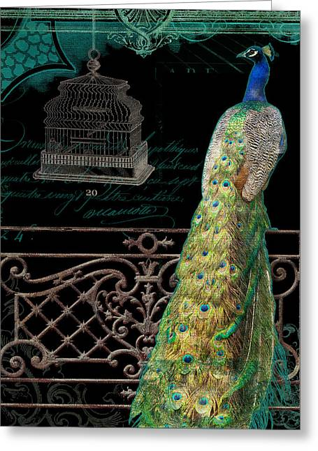 Bird Cage Greeting Cards - Elegant Peacock Iron Fence w Vintage Scrolls 4 Greeting Card by Audrey Jeanne Roberts