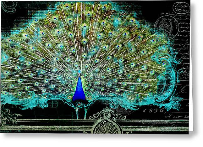 Flourished Greeting Cards - Elegant Peacock w Vintage Scrolls 3 Greeting Card by Audrey Jeanne Roberts