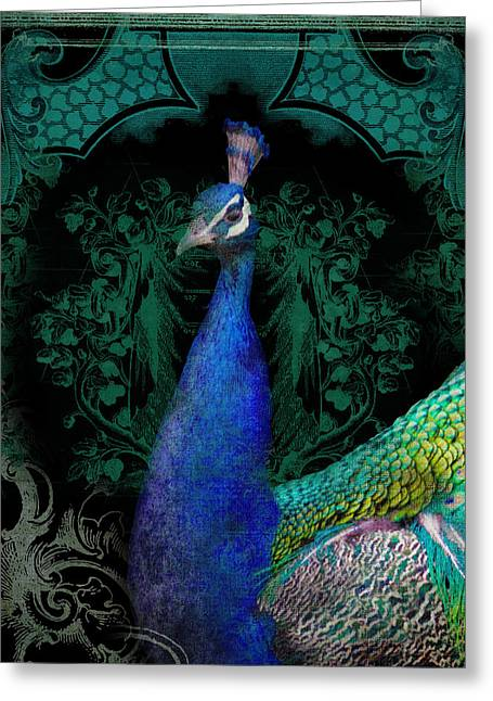Flourished Greeting Cards - Elegant Peacock w Vintage Scrolls  Greeting Card by Audrey Jeanne Roberts
