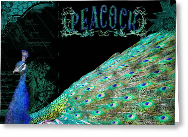 Peafowl Greeting Cards - Elegant Peacock w Vintage Scrolls Typography 4 Greeting Card by Audrey Jeanne Roberts