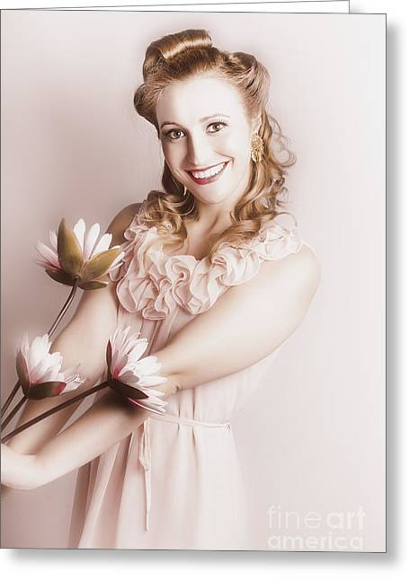 Elegant Smiling Vintage Woman Holding Flower Bunch Greeting Card by Jorgo Photography - Wall Art Gallery
