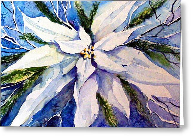 Elegant White Christmas Greeting Card by Mindy Newman