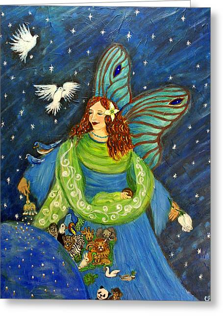 Swan Fantasy Art Greeting Cards - Elemental Angel Of Earth Greeting Card by The Art With A Heart By Charlotte Phillips