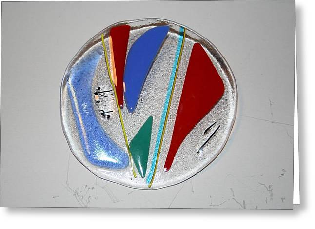 Fused Glass Art Greeting Cards - Elemental Greeting Card by Diane Morizio