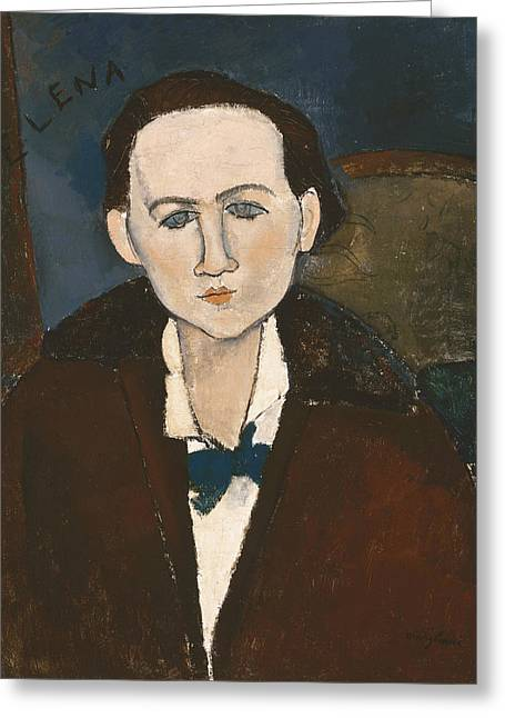 20th Greeting Cards - Elena Povolozky Greeting Card by Amedeo Modigliani