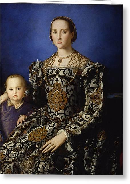 Bronzino Agnolo Greeting Cards - Eleonora di Toledo col figlio Giovanni Greeting Card by Agnolo di Cosimo di Mariano Bronzino