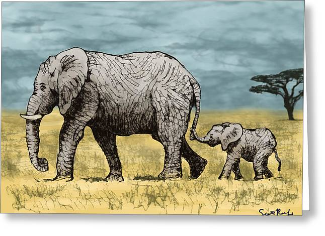 Serengeti Animal Greeting Cards - Elephant and Baby Greeting Card by Scott Rolfe