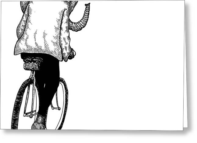 Cycling Artwork Greeting Cards - Elephant Bike Rider Greeting Card by Karl Addison