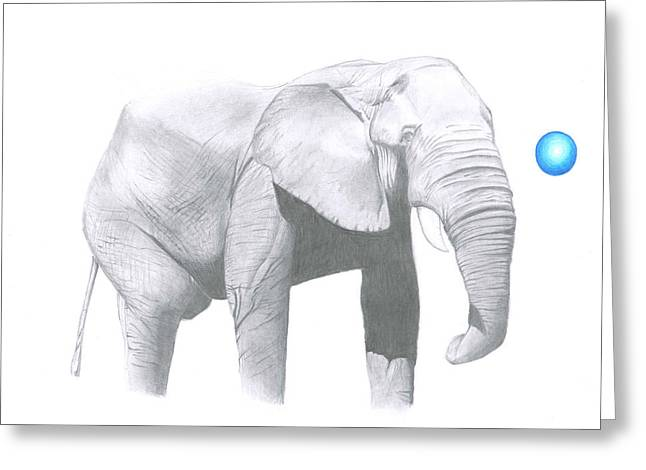 Wild Life Drawings Greeting Cards - Elephant Greeting Card by Camila Jordan
