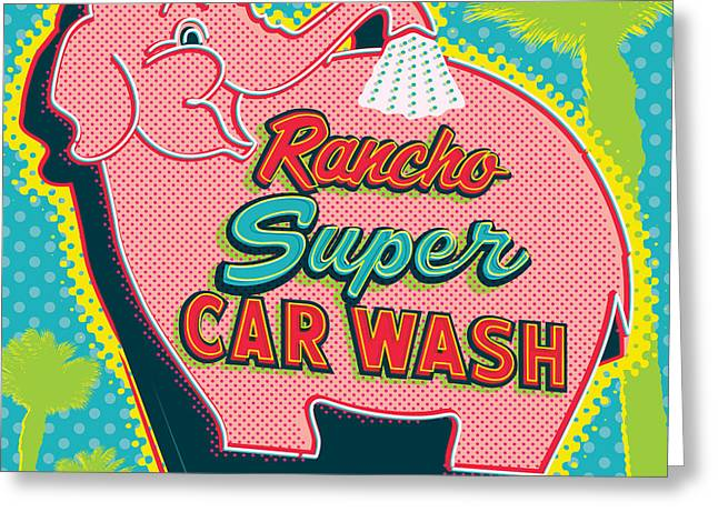 1960s Greeting Cards - Elephant Car Wash - Rancho Mirage - Palm Springs Greeting Card by Jim Zahniser