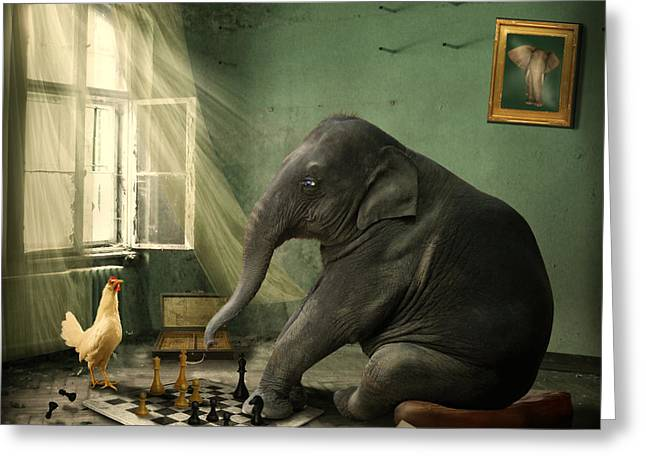 Humorous Greeting Cards - Elephant Chess Greeting Card by Ethiriel  Photography