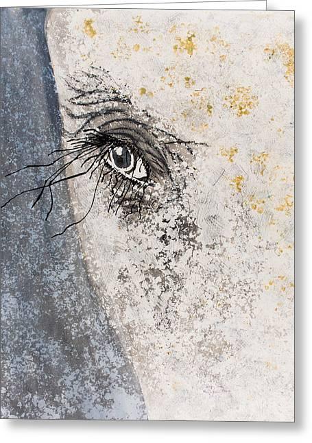 Gray Hair Greeting Cards - Elephant Eyeball Greeting Card by Tracy May