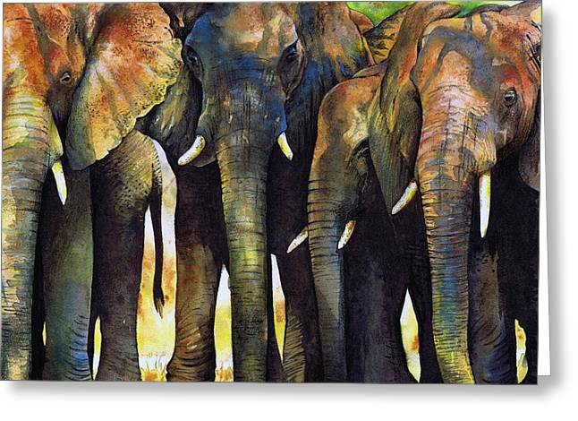 Animal Greeting Cards - Elephant Herd Greeting Card by Paul Dene Marlor