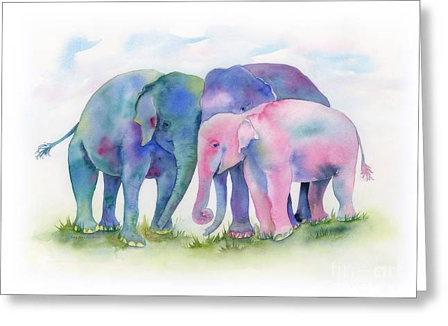 Three Children Paintings Greeting Cards - Elephant Hug Greeting Card by Amy Kirkpatrick