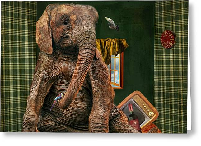 Square Format Greeting Cards - Elephant In The Room Greeting Card by Terry Fleckney
