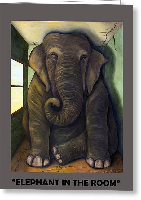Elephant In The Room With Lettering Greeting Card by Leah Saulnier The Painting Maniac