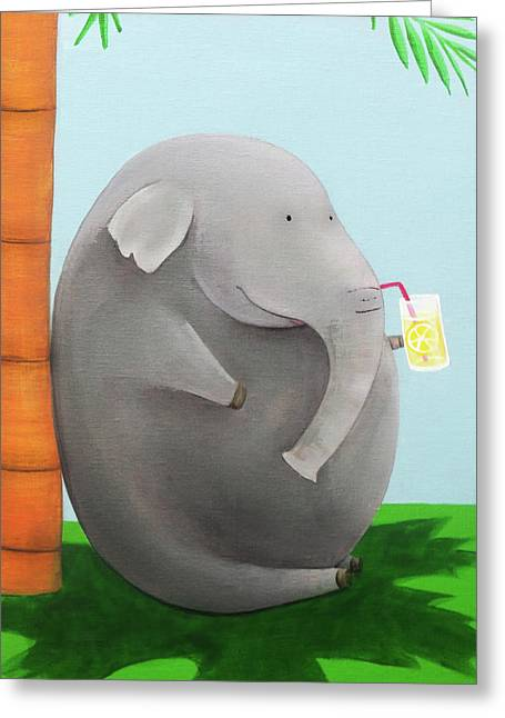 Elephant In The Shade Greeting Card by Lael Borduin