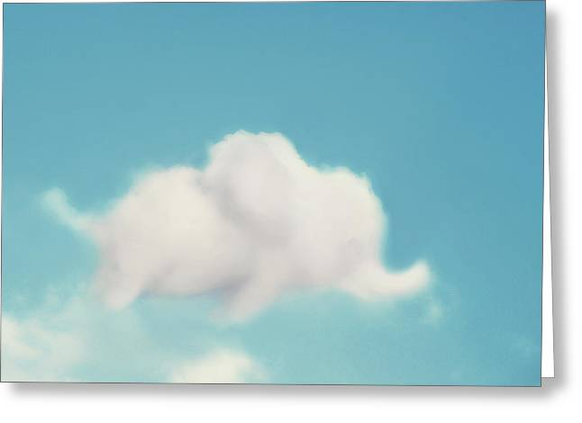 Cloud Greeting Cards - Elephant in the Sky Greeting Card by Amy Tyler