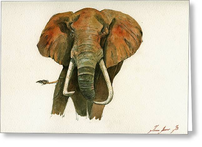 Elephant Painting           Greeting Card by Juan  Bosco