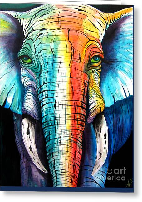 Elephant Rainbow Greeting Card by Abbi Kay