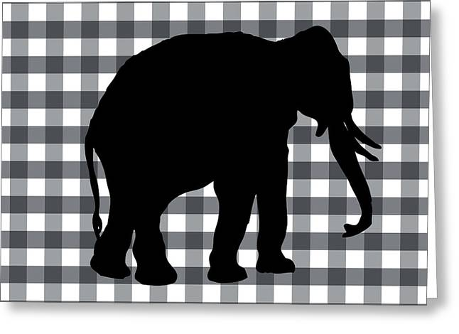 Cabin Wall Greeting Cards - Elephant Silhouette Greeting Card by Linda Woods