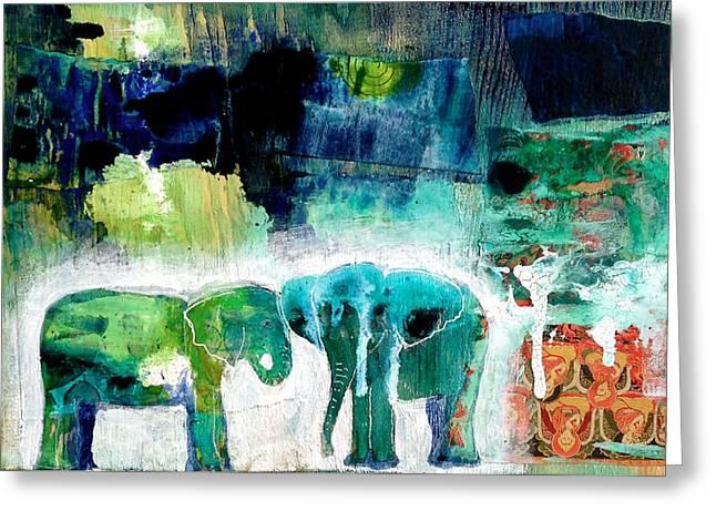 Elephants 2 Greeting Card by Jenn Ashton