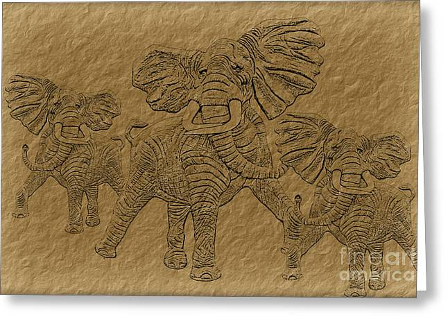 Duo Tone Greeting Cards - Elephants Three Greeting Card by Tim Hightower