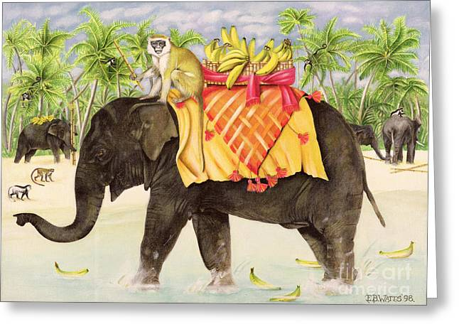Cloth Greeting Cards - Elephants with Bananas Greeting Card by EB Watts