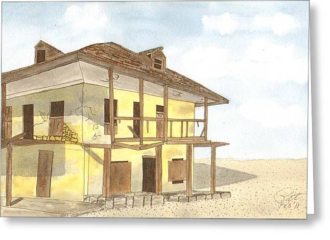 Abandoned Houses Drawings Greeting Cards - Eleuthera Greeting Card by Pat Price