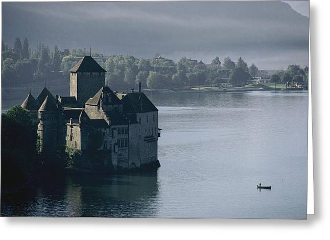 Chillon Greeting Cards - Elevated View Of Chateau De Chillon Greeting Card by Thomas J. Abercrombie