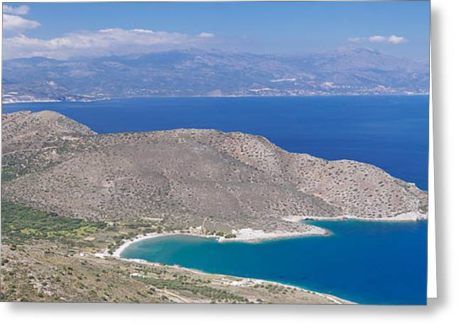 Crete Greeting Cards - Elevated View Of The Gulf Of Mirabella Greeting Card by Panoramic Images