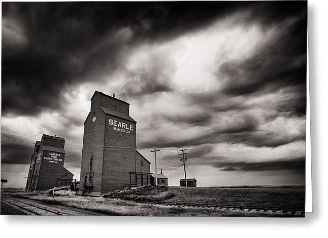 Elevators At The End Of Rail Greeting Card by Ian MacDonald