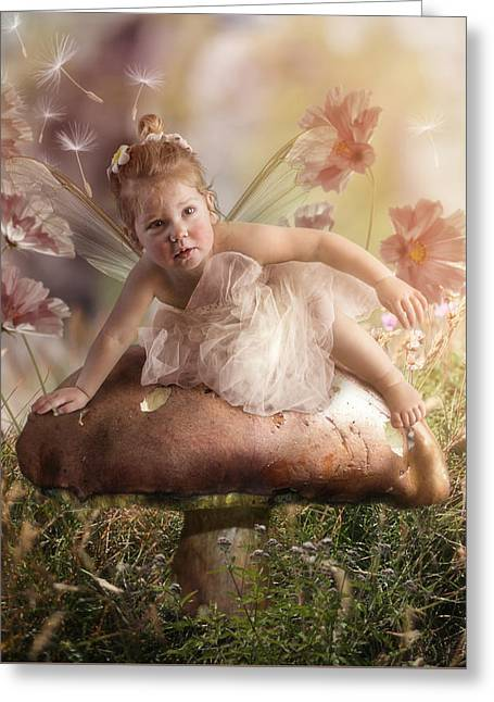 Flower Pink Fairy Child Greeting Cards - Elf baby II Greeting Card by Cindy Grundsten